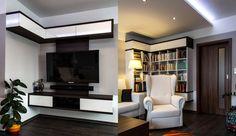 Ve stejném designu jako televizní stěnu a příborník jsme navrhli rohovou knihovnu