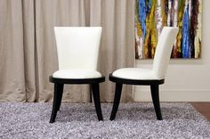 Neptune Off-White Leather Modern Dining Chair Restaurant Furniture