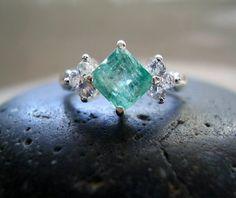 Dorothy - Genuine Emerald & White Sapphires - Alternative Engagement - Unique Unusual - Wedding Ring