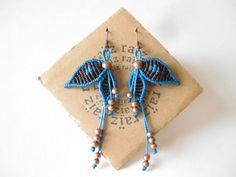 NYMPHE Butterfly boucles d'oreilles Macramé Elven oiseau  par raiz, $40.00