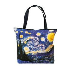 Starry Night Tote Bag with Zipper Top, Interior Lining and Inside Pocket, part of our fine art tote bags collection!