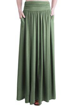 Rayon Spandex High Waist Shirring Maxi Skirt With Pockets