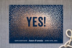 """""""Glittering Yes!"""" - Customizable Save The Date Cards in Blue by Hooray Creative. Starry Night Wedding, Moon Wedding, Wedding Prep, Wedding Advice, Wedding Ideas, Wedding Stuff, Wedding Planning, Wedding Inspiration, Modern Save The Dates"""