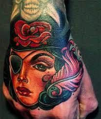 What does pirate tattoo mean? We have pirate tattoo ideas, designs, symbolism and we explain the meaning behind the tattoo. Small Hand Tattoos, Hand Tattoos For Guys, Finger Tattoos, Girl Tattoos, Dad Tattoos, Female Tattoos, Tatoos, Tatoo Art, Get A Tattoo