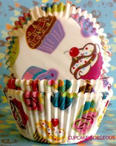 CUTE! Yummy cupcakes  Cupcake Liners cases Baking Cups by GORGEOUSCUPS, $2.99