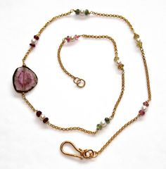Watermelon Tourmaline Slice Gemstone Pearl Rainbow by FizzCandy, $85.00