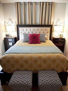 Traditional With a Twist   Designed for a young couple, Britany wanted to keep this master bedroom feeling relaxing yet trendy. A poorly-placed window inspired Britany to use soft draperies as the bed's backdrop. Unexpected patterns give the room a young, hip vibe.