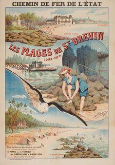 chemins de fer de l'état - Les plages de St Brevin - 1908 - illustration de Charles Bergman - France -