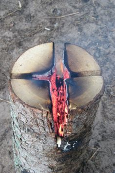 Keep your campfire burning all night with this simple tip for chopping firewood.