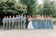 Dusty blue wedding bridesmaids dresses grey suits groomsmen going to the ch Slate Blue Bridesmaid Dresses, Blue Bridesmaids, Wedding Bridesmaid Dresses, Groomsmen Attire Grey, Groomsmen Colours, Groom Suits, Groom Attire, Blue Grey Weddings, Grey Suit Wedding