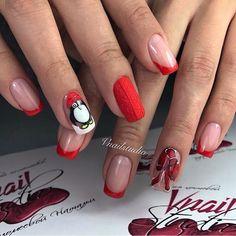 Bow nails, Drawings on nails, French nail art, Interesting French manicure, Medium nails, Painted nail designs, Party nails, Penguin nails
