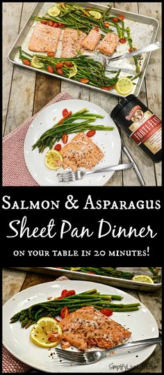 Easy Weeknight Salmon & Asparagus Sheet Pan Dinner on your table in 20 minutes! Plus, an #EatCleanwithBarleans #Giveaway!