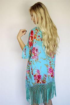 762ac3a501eb Floral Fringe Beach Cover Up Aqua Flower Tassel by OmbreRene