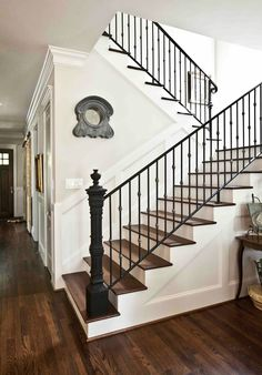 Farmhouse staircase ideas stair iron railing best wrought ideas on eclectic home tour city house farmhouse . Staircase Makeover, Staircase Railings, Staircase Remodel, Banisters, Staircase Design, Stairways, Iron Balusters, Staircase Ideas, Black Stair Railing