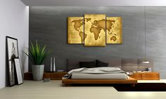 Appealing Bedroom Interior Decorations With Platform Bed And Grey Padded Headboard Featuring 3 Parts Framed Giclee Canvas Print World Map And Hanging Lamp of Cool World Map Art Wall Decor Ideas For Your Interior Decorations  Wall Art home Decor Metal Fish Art Wall Decor Modern Art Wall Decor Wall Art wall Decor 3d Art Wall Decor Custom . 700x420 pixels