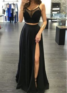 Charming Prom Dress,Two Piece Prom Dress,Black Prom Dress,Sexy See Through Evening Dress