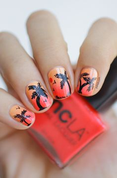 Sunset nail art: two color colour design: yellow base (Lime: Peaches and Cream) with a orange coral red sponged gradient (NCLA Poolside Party All Eyes on Me), use a brush to draw on black palm trees, birds etc.