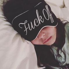 An eye-mask with attitude! Get the clear message across for a good nights sleep or a lazy sleep in. Our slogan embroidered in silk This eye-mask is a lot of fun & makes a great gift idea. One size 100% silk Please allow 2 weeks for shipping.