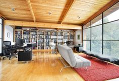 Architecture, Interesting Lovell Residence As Modern Split Level House In Mill Valley Featuring Interior Design With Parquet Floor, Soft Lounge And Book Shelf: Appealing Two Story Residence Designed in Green Lovell Avenue