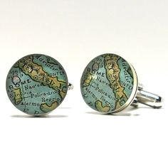 Italy 1899 Antique Map Cufflinks For those who travel, collect old maps or dream of where their journey's will take them someday, a piece of heirloom quality custom jewelry to preserve your most treasured memories.  A map fragment from an 1899 antique world atlas from my collection, is featured here in my new line of antique pieces.  Italy map is preserved under a magnifying jewelry grade resin.