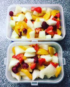 Batch made fruit salad ready for the week ahead