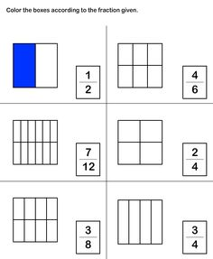 Math Worksheets, Grade-2 Worksheets, Fractions Worksheet