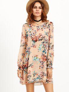 Robe tunique imprimé floral - rose