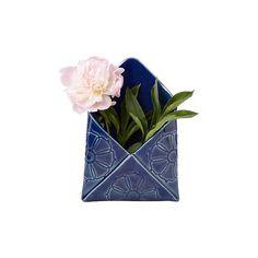 Shandi McConnell Envelope Wall Vase ($46) ❤ liked on Polyvore featuring home, home decor, vases, porcelain vase y handmade home decor
