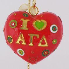 Alpha Gamma Delta Polka Dot Heart Cloisonne Ornament with 24k Gold Plating
