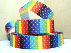 Rainbow Spot Rectangles 7/8 Inch Width Grosgrain Ribbon