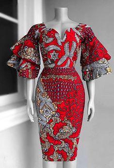 African Print dress Red Ankara Dress African Clothing | Etsy
