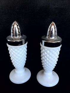 Vintage Milk Glass Diamond Hobnail Salt and Pepper Shakers Circa Mid Century #Hobnail