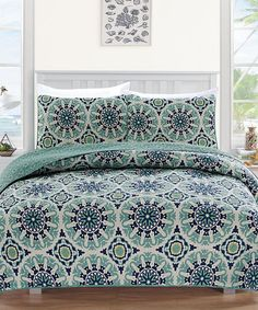 $21.99 marked down from $129.99!! Blue & Green Delano Collection Quilt Set #bedroom #zulilyfinds