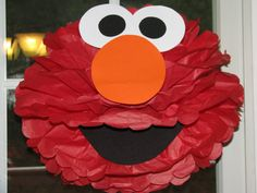 """Red Monster tissue paper pompom kit, inspired by """"Elmo"""" from Sesame Street by The Shower Planner 