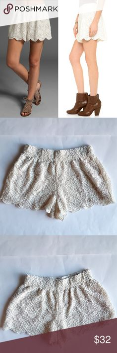 "Free People Scalloped Crochet Shorts Beautiful ivory lace shorts. Lined, with elastic waistband.  12.5"" waist,  10.5"" rise,  2"" inseam.  Preloved,  in great condition. Free People Shorts"