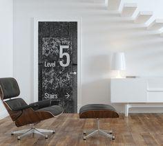 Level 5 Door Mural Vinyl Doors, Custom Wall Murals, Door Murals, Level 5, Stairs, Wall Decor, Bath Powder, Room, Furniture