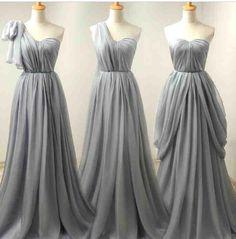 Grey Bridesmaid Dresses,Flowers One Shoulder Ruffles Chiffon A