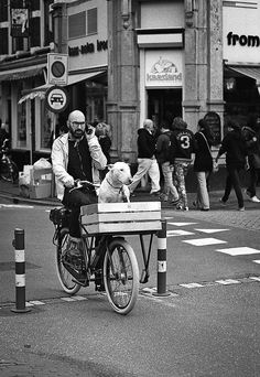 Man and his friend cycling past the cheese shop at the entrance of the Haarlemmerstraat, Amsterdam.