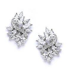 """Mariell Cubic Zirconia Bridal Wedding Earrings with Marquis-Cut CZ Clusters Plated in Genuine Platinum. Luxurious Marquis-Cut Cubic Zirconia Cluster Bridal or Special Occasion Earrings with Marquis-Cut Gems; 1"""" h and 3/4"""" w. Genuine Silver Platinum Plating with Rhodium for Endless Shine and Durability with the Look of Fine Jewelry; Posts with Comfort Disk Backs. Top Quality AAAAA Grade Cubic Zirconia for Diamond-like Brilliance. 100% RISK FREE Purchase; Money Back if Not Delighted; Enjoy…"""