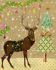 Christmas Reindeer - Christmas Nursery Decor - Animal Nursery Art Print - Animal Painting - Snowy Deer Art Print - Children Decor - Kids Decor Title - Christmas Deer This listing is for a large format print of my mixed media painting. Print size is 50 cm x 40 cm (almost 16x20 inches) This print fits in the Ikea 40x50 cm Ribba frame. (please note frame is not included) Print is mailed in a tube. To browse all of my large paper prints please click on the link below www.etsy.com/shop/Sascal...