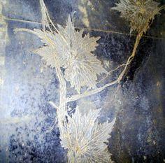 Een heel mooi voorbeeld van organisch materiaal gecombineerd met gesso en acryl.