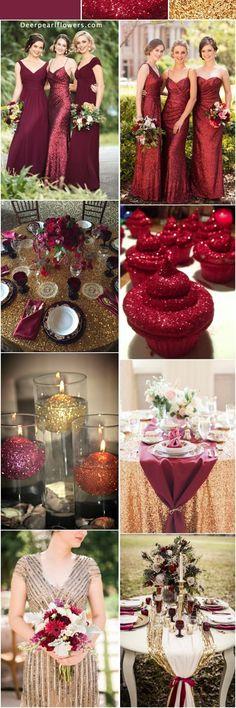 Burgundy and gold glitter wedding color ideas / http://www.deerpearlflowers.com/glitter-wedding-color-ideas/ #gold #glitter