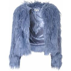Blue Faux Fur Jacket (1,885 MXN) ❤ liked on Polyvore featuring outerwear, jackets, coats, fur, tops, blue, long sleeve cami, long sleeve camisole, long cami and blue jackets