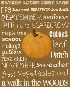 Fall Autumn printable hayride acorn crisp apple ripe harvest football September sunflower pie rake scarecrow maple tree November sweater frost a walk in the woods