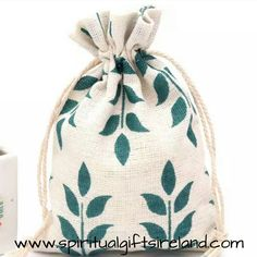 Green Leaves Print 100% Recycled Cotton Drawstring Pouches Biodegradable Eco Friendly Static Free Natural Fabric Gift Bags Party Favour Made in Ireland Crystals Gemstones Storage Bags
