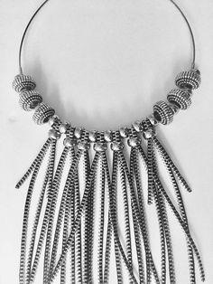"Silver Tone Zipper Bib Statement Necklace With Metal Beads Decoration - Avant Garde Style Necklace- Freestyle Choker - Urban Jewelry Choker's Diameter- 5"" (12.5cm) Zipper fringe length - 13.6"" (34 cm)"