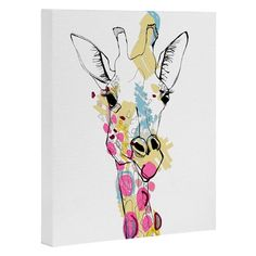 Casey Rogers Giraffe Color Art Canvas | Deny Designs