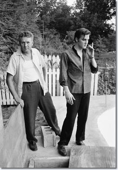Elvis and his father, Vernon, at home in Memphis - July 4, 1956