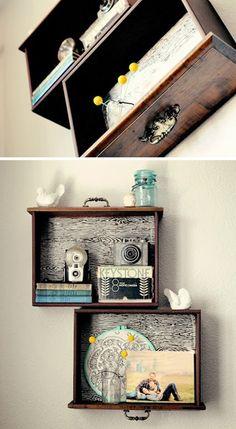 Gavetas na parede são decorações extremamente criativas e lindas! Confira outras ideias no blog.