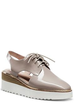 Slingback Square Toe Lace-Up Platform Shoes